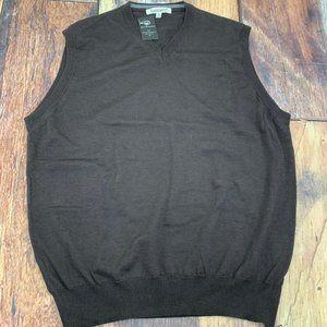 Travel Smith 100% Merino Wool Brown Sweater Vest